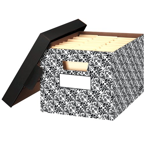 Stor/File Brocade Decorative Storage Box - Letter/Legal, Carton of 4