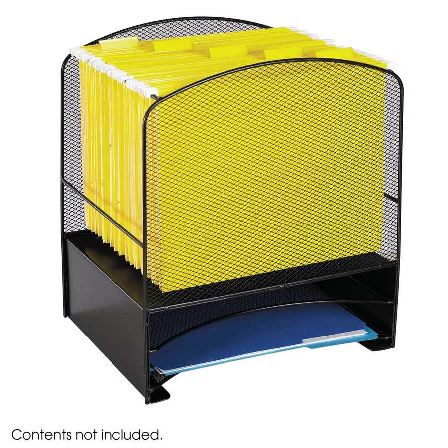 safco onyx mesh desk organizer hanging file 2 horizontal sorters 3260bl