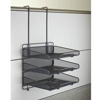 Onyx Mesh Panel Organizer Triple Tray Panel organizer; Panel organization; Mesh panel organizer; Mesh cubicle organizer; Cubicle organizer; Cubicle organization; Desk organizer; Desk organization; Office organization; Desk accessories