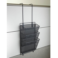 Onyx Mesh Panel Organizer Triple Basket Panel organizer; Panel organization; Mesh panel organizer; Mesh cubicle organizer; Cubicle organizer; Cubicle organization; Desk organizer; Desk organization; Office organization; Desk accessories