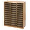 36 Comp. Wood-Corrugated Literature Organizer Cubbies; Forms sorter; Literature sorter; Mail box;  Mailbox; Teacher mailbox; Classroom mailbox; Classroom sorter; Classroom organizer; Paper organizer; Project organizer; Cubbies for classroom; Classroom cubby; Office furniture; Medium Oak forms sorter; Medium Oak literature sorter; Medium Oak mail box