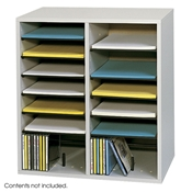 16 Comp. Wood Adjustable-Compartment Literature Organizer Cubbies; Forms sorter; Literature sorter; Mail box;  Mailbox; Teacher mailbox; Classroom mailbox; Classroom sorter; Classroom organizer; Paper organizer; Project organizer; Cubbies for classroom; Classroom cubby; Office furniture; Gray forms sorter; Gray literature sorter; Gray mail box