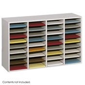 36 Comp. Wood Adjustable-Compartment Literature Organizer Cubbies; Forms sorter; Literature sorter; Mail box;  Mailbox; Teacher mailbox; Classroom mailbox; Classroom sorter; Classroom organizer; Paper organizer; Project organizer; Cubbies for classroom; Classroom cubby; Office furniture; Gray forms sorter; Gray literature sorter; Gray mail box