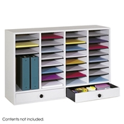 32 Comp. Wood Adjustable-Compartment Literature Organizer Cubbies; Forms sorter; Literature sorter; Mail box;  Mailbox; Teacher mailbox; Classroom mailbox; Classroom sorter; Classroom organizer; Paper organizer; Project organizer; Cubbies for classroom; Classroom cubby; Office furniture; Gray forms sorter; Gray literature sorter; Gray mail box