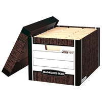 R-Kive Woodgrain Storage Boxes, LETTER/LEGAL, Carton of 12