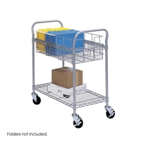 "24""W Wire Mail Cart Cart; Carts; Mail cart; Office furniture; Mailroom furniture; Mailroom cart; Mail room cart; Mail room furniture; Delivery cart; Mail delivery cart; Gray cart; Gray carts; Gray mail cart; Gray office furniture"