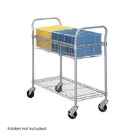 "36""W Wire Mail Cart Cart; Carts; Mail cart; Office furniture; Mailroom furniture; Mailroom cart; Mail room cart; Mail room furniture; Delivery cart; Mail delivery cart; Gray cart; Gray carts; Gray mail cart; Gray office furniture"