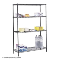 "48"" x 18"" Commercial Wire Shelving Steel shelving; Storage shelving; Extra strength steel shelving; Garage storage; Commerical wire shelving; Wire shelving; Wire storage shelving; Backroom storage; Backroom shelving; Facility maintenance; Heavy duty steel shelving; Black steel shelving; Black storage shelving; Black extra strength steel shelving"