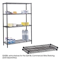"48"" x 18"" (2) Extra Shelves for Commercial Wire Shelving Steel shelving; Storage shelving; Extra strength steel shelving; Garage storage; Commerical wire shelving; Wire shelving; Wire storage shelving; Backroom storage; Backroom shelving; Facility maintenance; Heavy duty steel shelving; Black steel shelving; Black storage shelving; Black extra strength steel shelving"