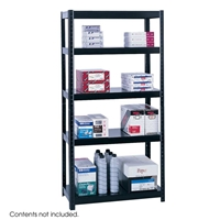 "36"" Wide Boltless Steel Shelving Boltless shelving; Boltless steel shelving; Steel shelving; Storage shelving; Extra strength steel shelving; Garage storage; Backroom storage; Backroom shelving; Facility maintenance; Heavy duty steel shelving; Black steel shelving; Black storage shelving; Black extra strength steel shelving"