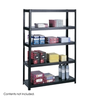 "48"" Wide Boltless Steel Shelving Boltless shelving; Boltless steel shelving; Steel shelving; Storage shelving; Extra strength steel shelving; Garage storage; Backroom storage; Backroom shelving; Facility maintenance; Heavy duty steel shelving; Black steel shelving; Black storage shelving; Black extra strength steel shelving"