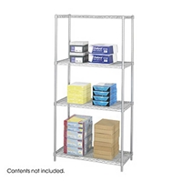 "Industrial Wire Shelving - Starter Unit - 36""W x 18""D x 72""H Industrial wire shelving; Industrial wire storage shelving; Industrial backroom shelving; Industrail back room shelving; Steel shelving; Storage shelving; Extra strength steel shelving; Garage storage; Backroom storage; Backroom shelving; Backroom organziation; Back room storage; Back room shelving; Back room organziation; Facility maintenance; Heavy duty steel shelving; Black steel shelving; Black storage shelving; Black extra strength steel shelving"