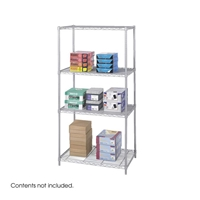 "Industrial Wire Shelving - Starter Unit - 36""W x 24""D x 72""H Industrial wire shelving; Industrial wire storage shelving; Industrial backroom shelving; Industrail back room shelving; Steel shelving; Storage shelving; Extra strength steel shelving; Garage storage; Backroom storage; Backroom shelving; Backroom organziation; Back room storage; Back room shelving; Back room organziation; Facility maintenance; Heavy duty steel shelving; Black steel shelving; Black storage shelving; Black extra strength steel shelving"