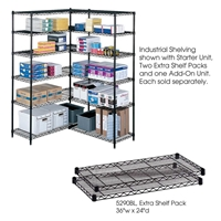 "Industrial Wire Shelving - Extra Shelves - 36""W x 24""D x 1?""H Industrial wire shelving; Industrial wire storage shelving; Industrial backroom shelving; Industrail back room shelving; Steel shelving; Storage shelving; Extra strength steel shelving; Garage storage; Backroom storage; Backroom shelving; Backroom organziation; Back room storage; Back room shelving; Back room organziation; Facility maintenance; Heavy duty steel shelving; Black steel shelving; Black storage shelving; Black extra strength steel shelving"