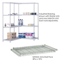 "Industrial Wire Shelving - Extra Shelves - 36""W x 18""D x 1?""H Industrial wire shelving; Industrial wire storage shelving; Industrial backroom shelving; Industrail back room shelving; Steel shelving; Storage shelving; Extra strength steel shelving; Garage storage; Backroom storage; Backroom shelving; Backroom organziation; Back room storage; Back room shelving; Back room organziation; Facility maintenance; Heavy duty steel shelving; Black steel shelving; Black storage shelving; Black extra strength steel shelving"