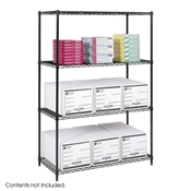 "Industrial Wire Shelving - Starter Unit - 48""W x 24""D x 72""H Industrial wire shelving; Industrial wire storage shelving; Industrial backroom shelving; Industrail back room shelving; Steel shelving; Storage shelving; Extra strength steel shelving; Garage storage; Backroom storage; Backroom shelving; Backroom organziation; Back room storage; Back room shelving; Back room organziation; Facility maintenance; Heavy duty steel shelving; Black steel shelving; Black storage shelving; Black extra strength steel shelving"