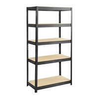 Boltless Steel and Particleboard Shelving 36x18 Particleboard shelving; Boltless shelving; Boltless steel shelving; Steel shelving; Storage shelving; Extra strength steel shelving; Garage storage; Backroom storage; Backroom shelving; Steel racking; Facility maintenance; Heavy duty steel shelving; Black steel shelving; Black storage shelving; Black extra strength steel shelving