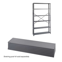 "Industrial Steel Shelf Pack 6-Shelves 48"" x 12"" Industrial shelving; Industrial storage shelving; Industrial backroom shelving; Industrail back room shelving; Steel shelving; Storage shelving; Extra strength steel shelving; Garage storage; Backroom storage; Backroom shelving; Backroom organziation; Back room storage; Back room shelving; Back room organziation; Facility maintenance; Heavy duty steel shelving"