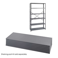 "Industrial Steel Shelf Pack 6-Shelves 48"" x 18"" Industrial shelving; Industrial storage shelving; Industrial backroom shelving; Industrail back room shelving; Steel shelving; Storage shelving; Extra strength steel shelving; Garage storage; Backroom storage; Backroom shelving; Backroom organziation; Back room storage; Back room shelving; Back room organziation; Facility maintenance; Heavy duty steel shelving"