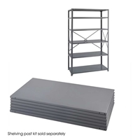 "Industrial Steel Shelf Pack 6-Shelves 48"" x 24"" Industrial shelving; Industrial storage shelving; Industrial backroom shelving; Industrail back room shelving; Steel shelving; Storage shelving; Extra strength steel shelving; Garage storage; Backroom storage; Backroom shelving; Backroom organziation; Back room storage; Back room shelving; Back room organziation; Facility maintenance; Heavy duty steel shelving"